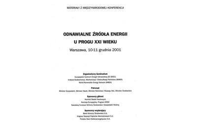 Odnawialne źródła energii u progu XXI wieku, Warszawa 2001