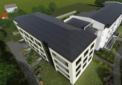 całość założenia (budynek modernizowany i skrzydło nowoprojektowane)