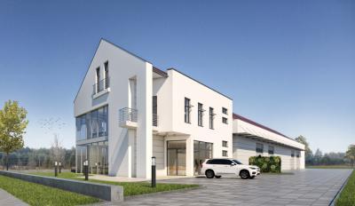 Budynek biurowo-mieszkalny z halą magazynową w Warszawie