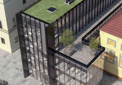 widok ogólny budynku modernizowanego i skrzydła nowoprojektowanego