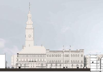 profil budynku na tle ratusza