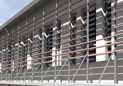detal elewacji frontowej- system półek przeciwsłonecznych